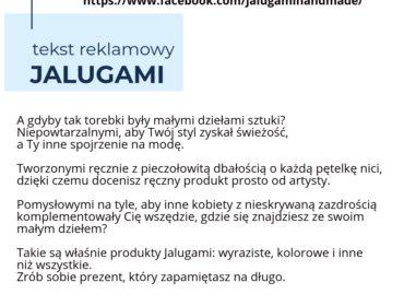 Tekst reklamowy Jalugami Handmade 2 370x280 - Copywriting - Teksty reklamowe i hasła