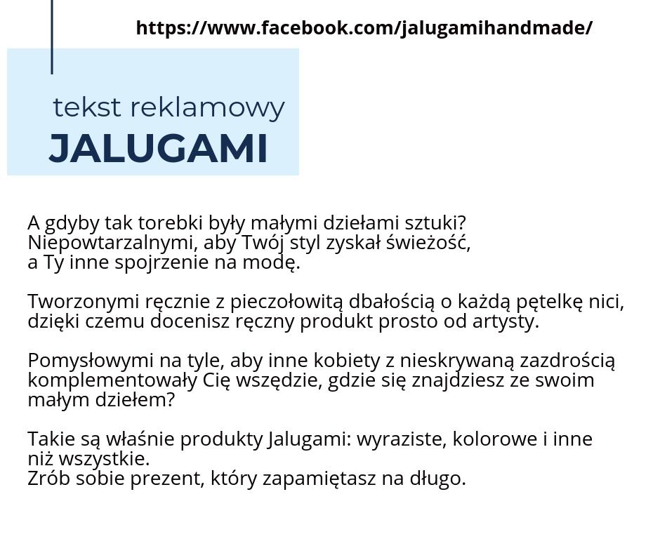 Tekst reklamowy Jalugami Handmade 2 - Nasze Portfolio