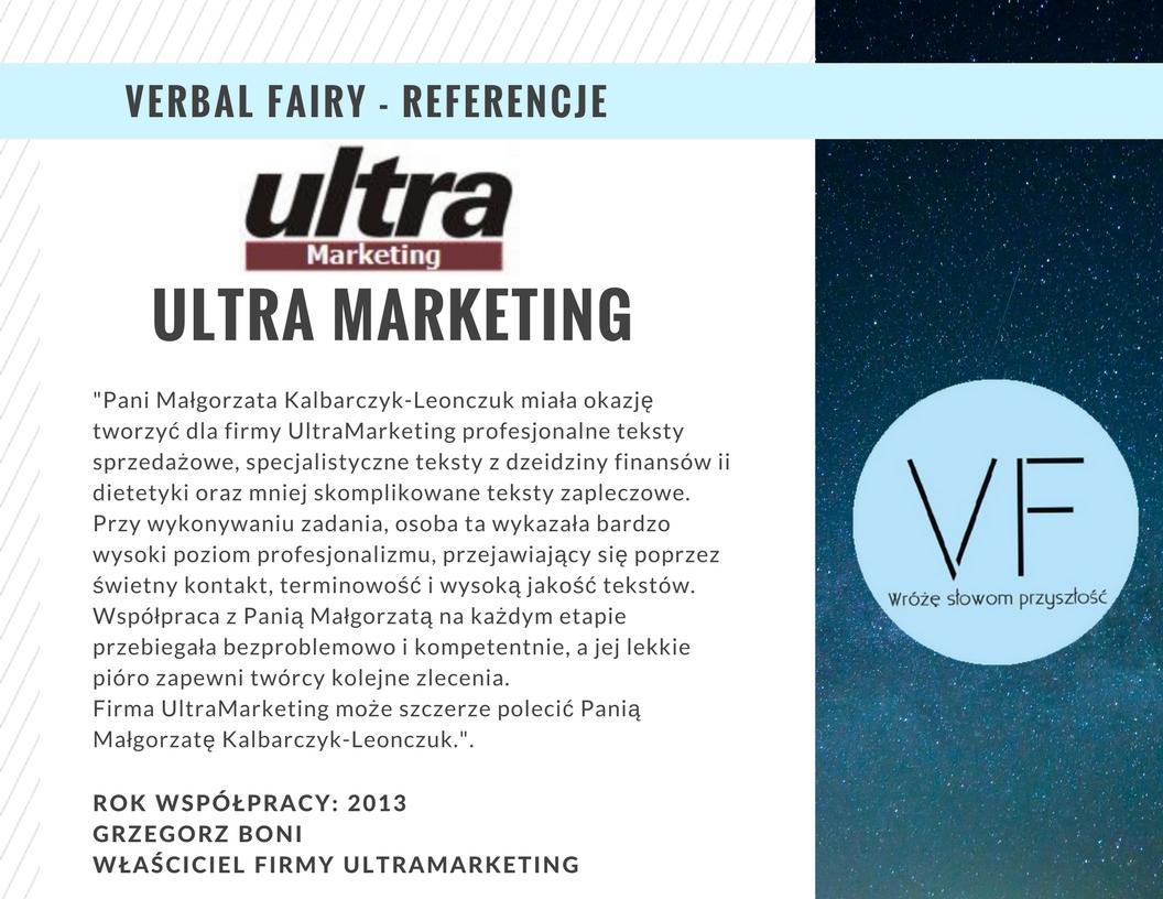 Referencje firmy Verbal Fairy odfirmy UltraMarketing