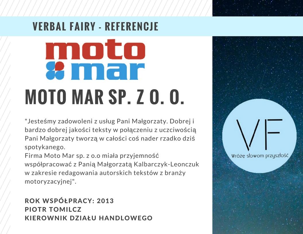 Referencje firmy Verbal Fairy odMoto Mar