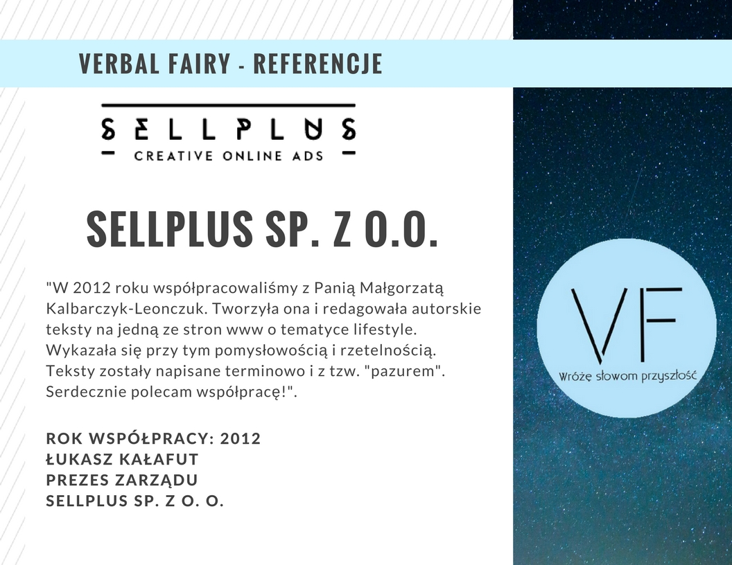 Referencje firmy Verbal Fairy od Sellplus
