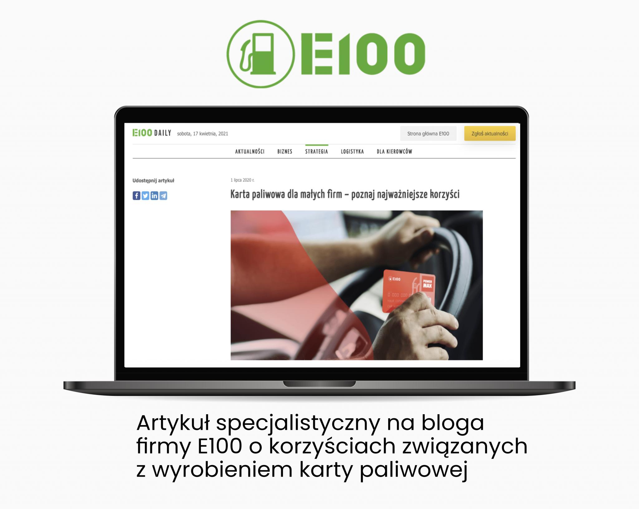E100 artykul specjalistyczny nabloga firmowego Verbal Fairy - Portfolio copywriterskie Verbal Fairy