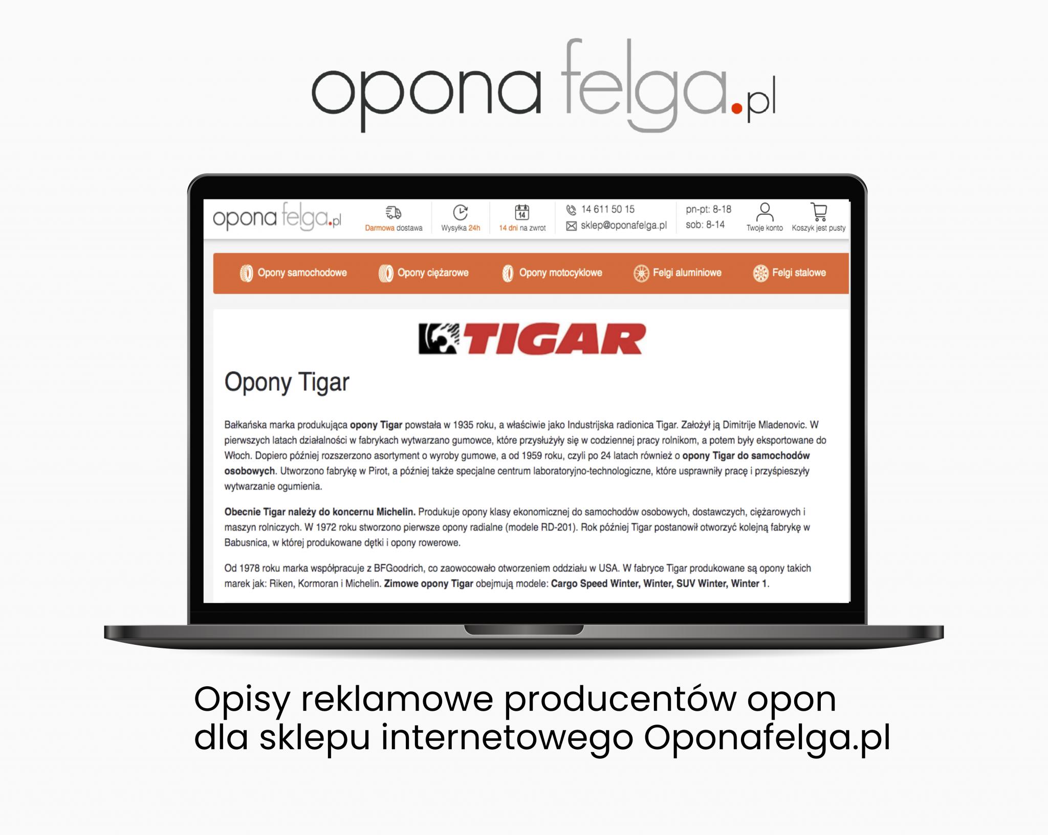 Oponafelga – Opis opon  - Portfolio copywriterskie Verbal Fairy